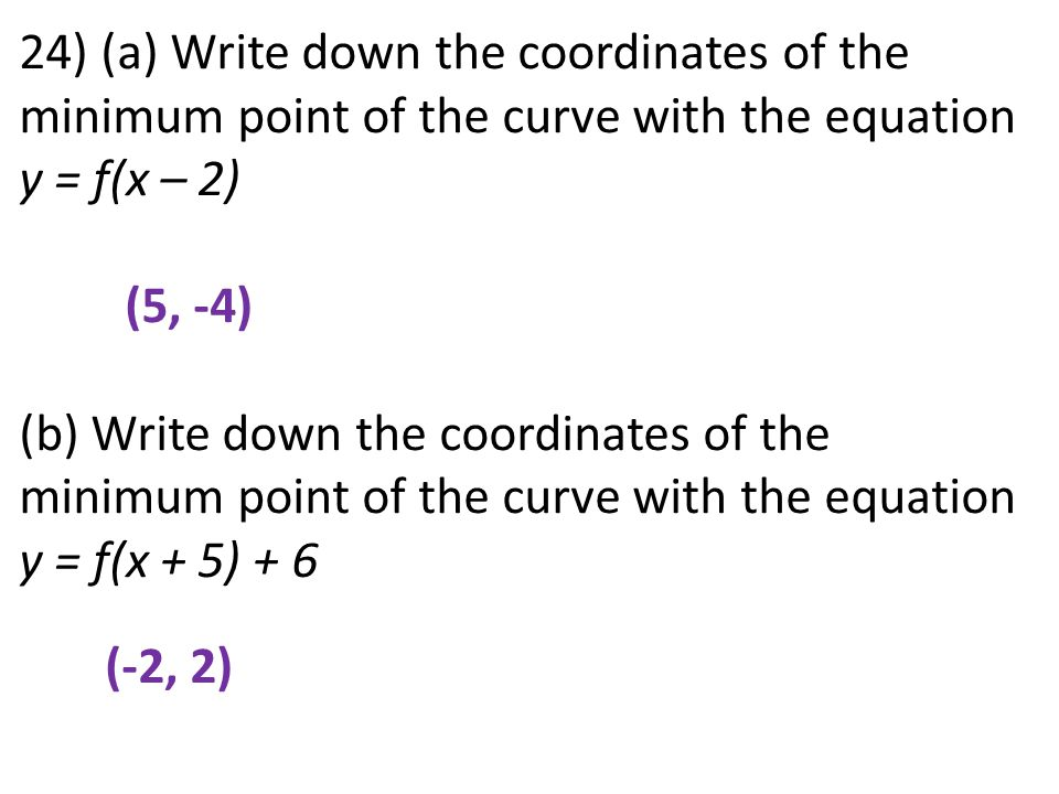 24) (a) Write down the coordinates of the minimum point of the curve with the equation