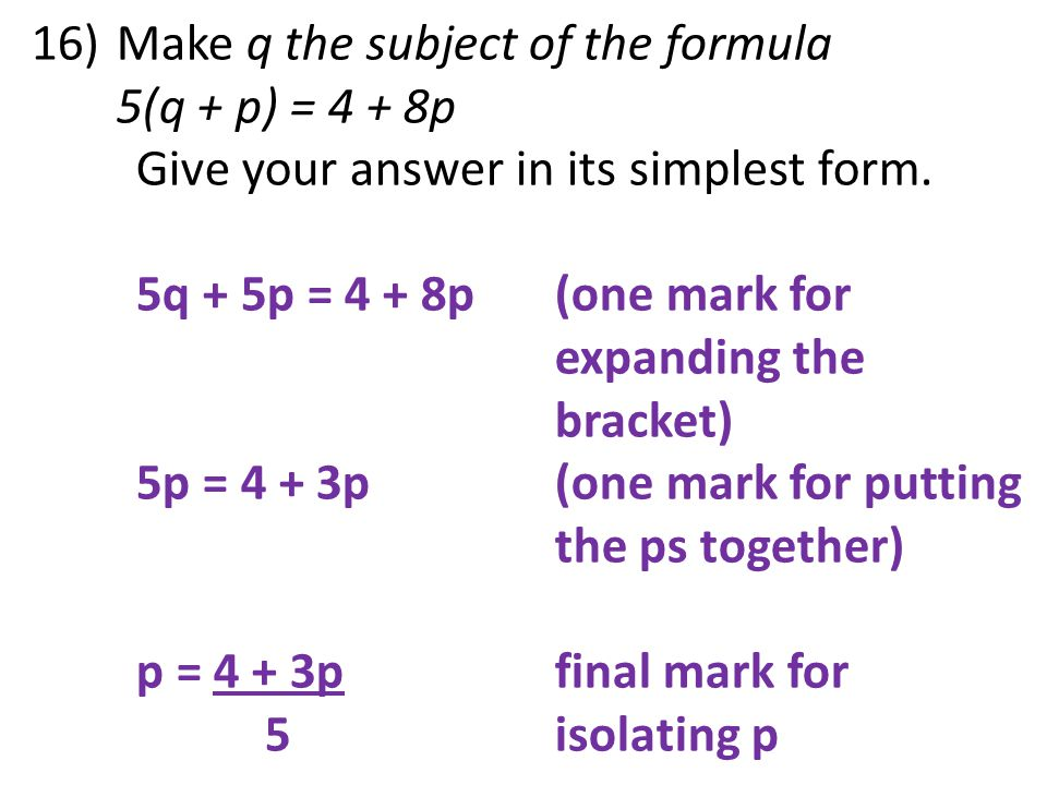 Make q the subject of the formula