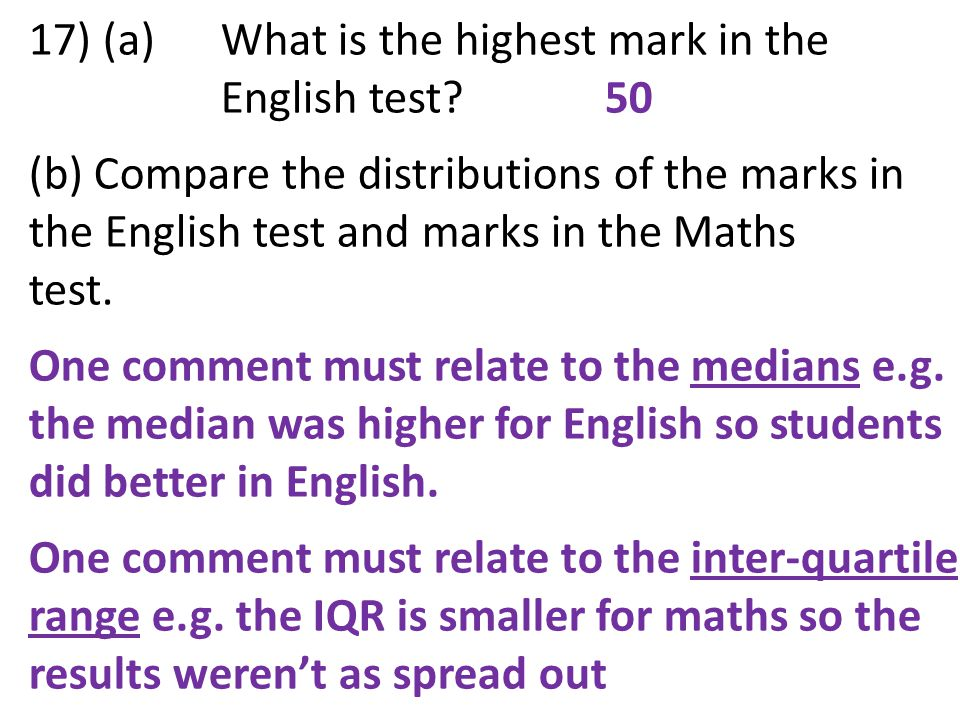 17) (a) What is the highest mark in the English test 50