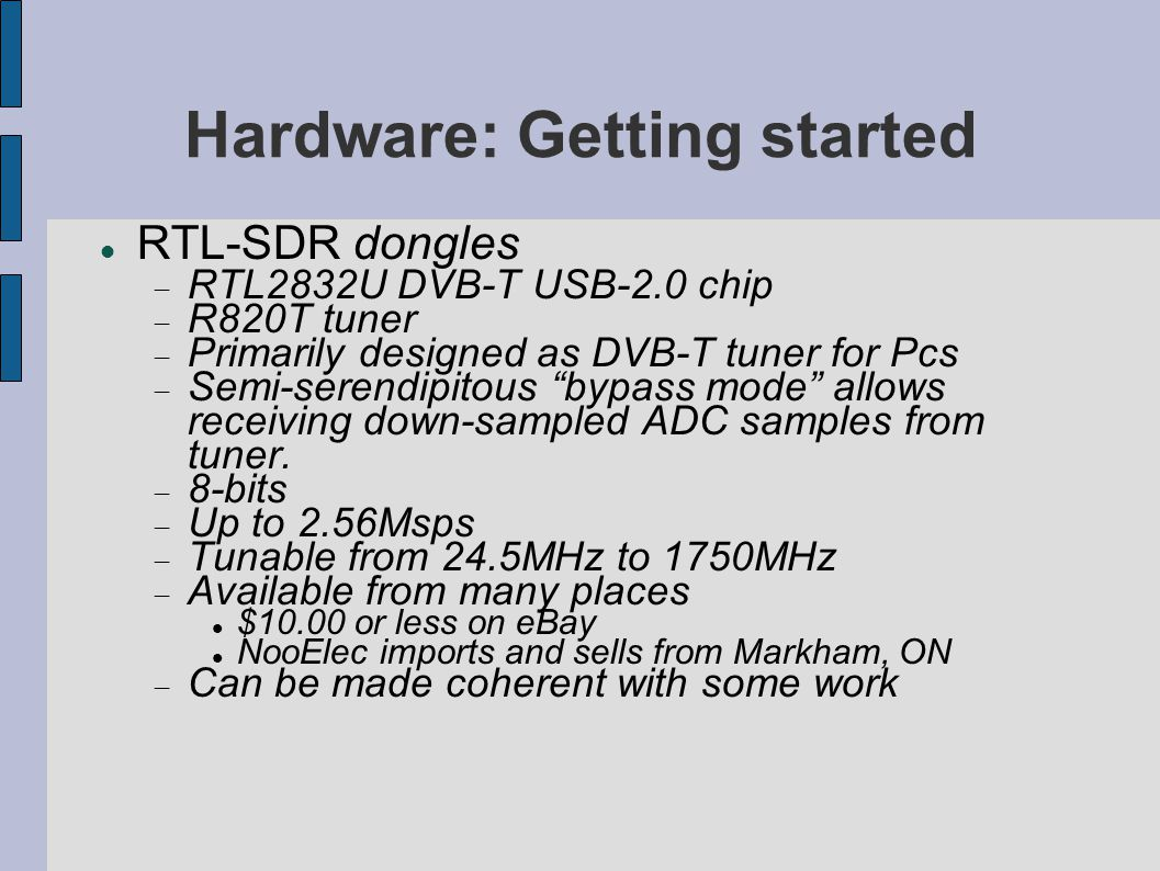 Hardware: Getting started
