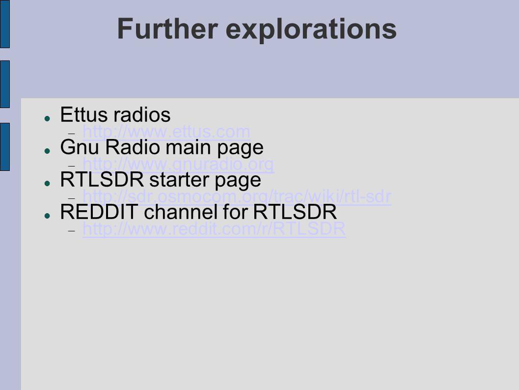 Further explorations Ettus radios Gnu Radio main page