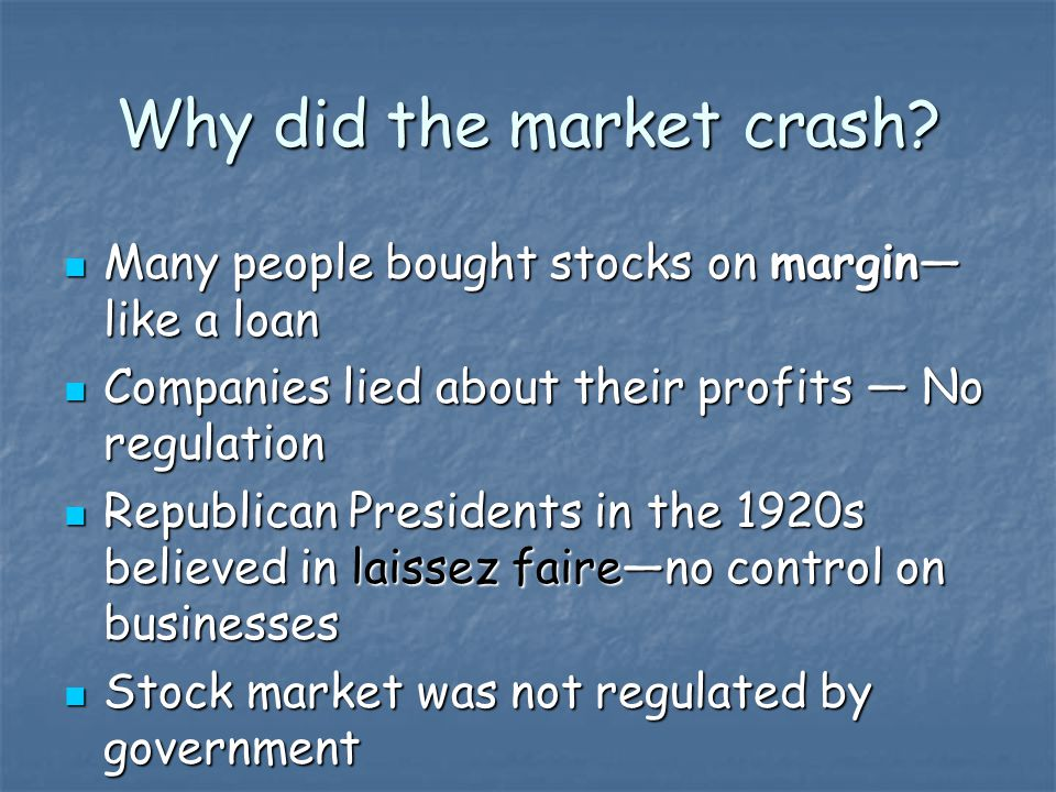 Why did the market crash