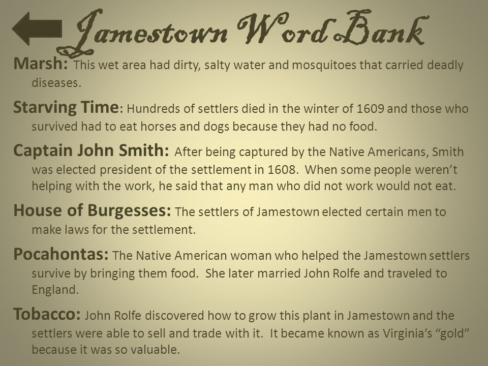 Jamestown Word Bank