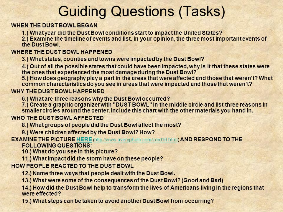 Guiding Questions (Tasks)