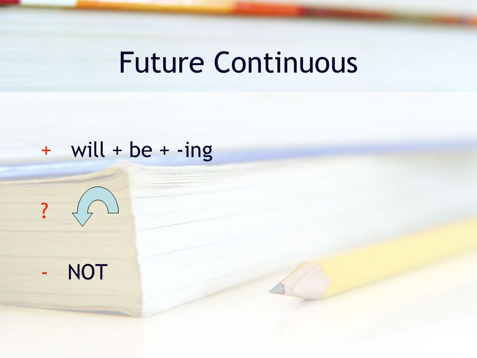 Future Continuous + will + be + -ing - NOT