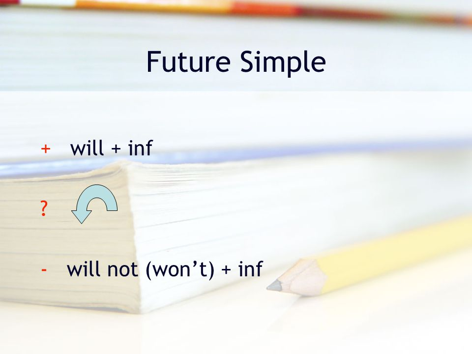 Future Simple + will + inf - will not (won't) + inf