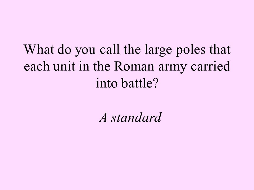 What do you call the large poles that each unit in the Roman army carried into battle