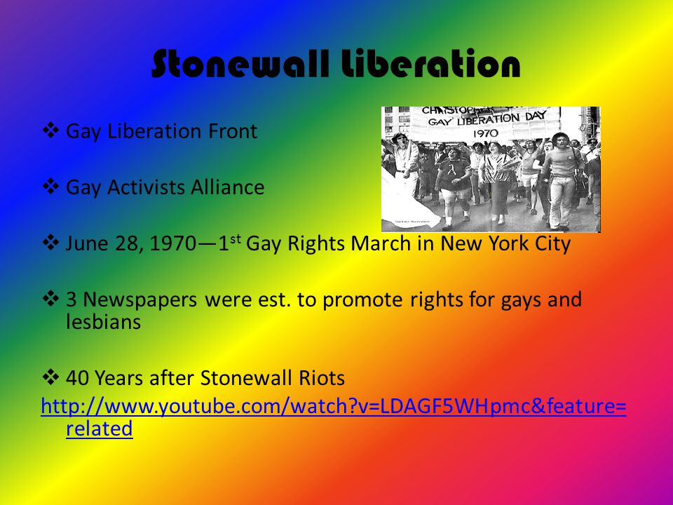 Stonewall Liberation Gay Liberation Front Gay Activists Alliance