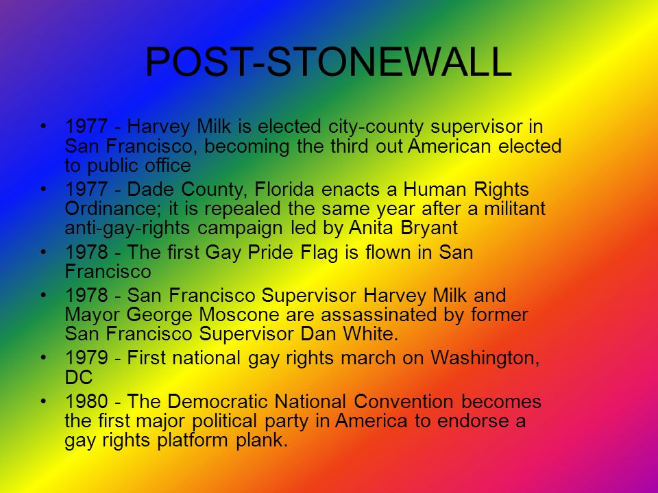POST-STONEWALL 1977 - Harvey Milk is elected city-county supervisor in San Francisco, becoming the third out American elected to public office.