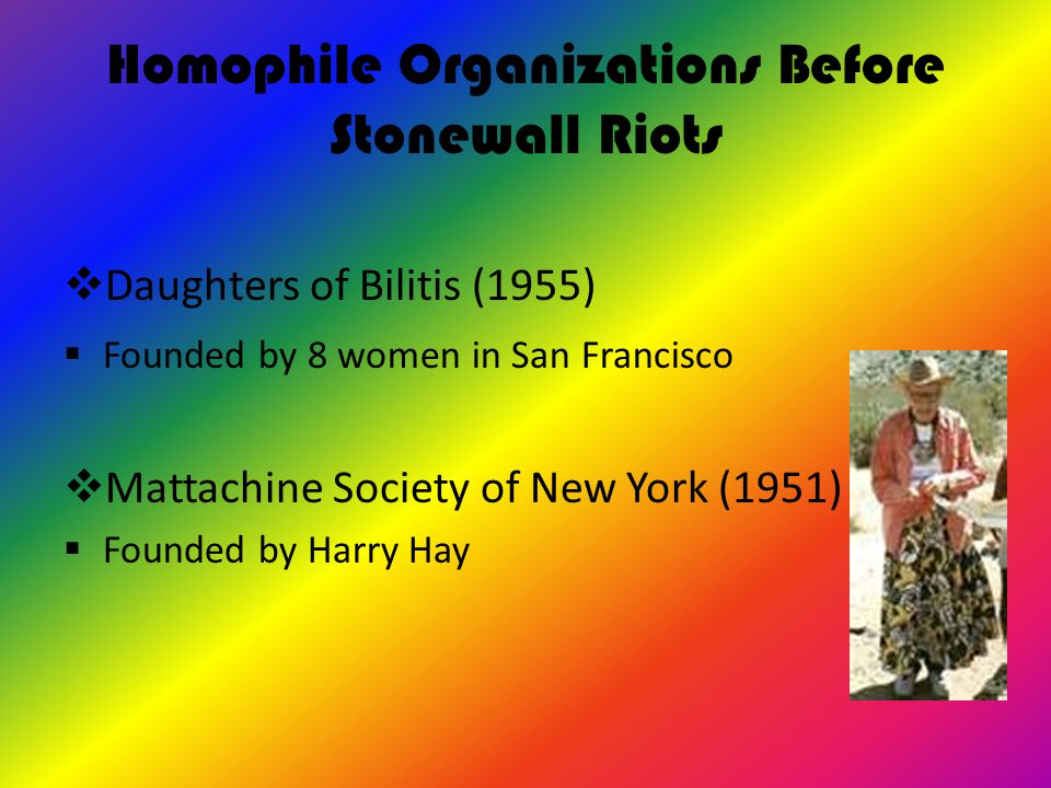 Homophile Organizations Before Stonewall Riots