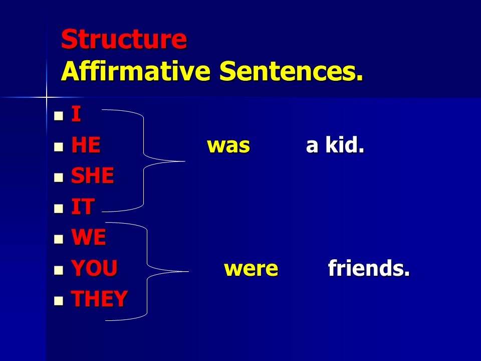 Structure Affirmative Sentences.