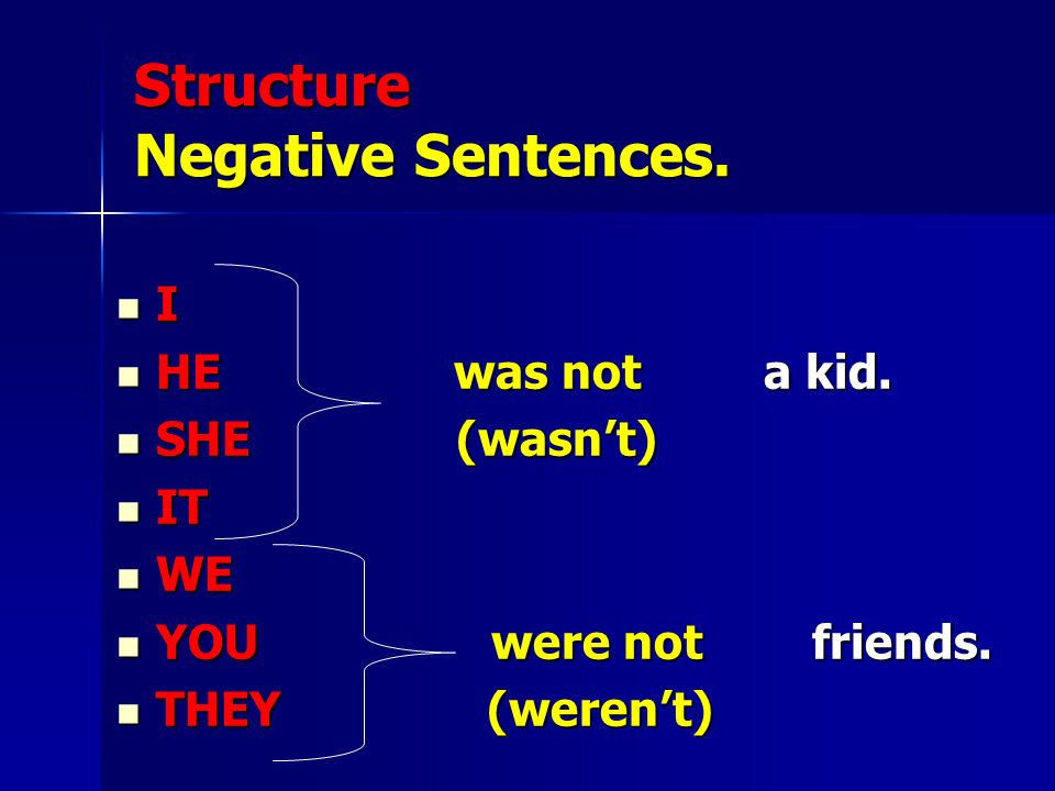 Structure Negative Sentences.