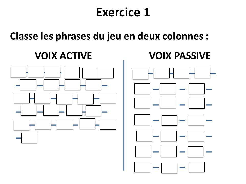 Exercice 1 Classe les phrases du jeu en deux colonnes :