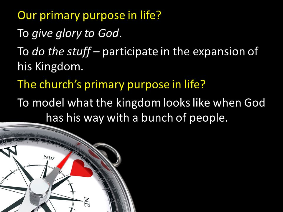 Our primary purpose in life. To give glory to God