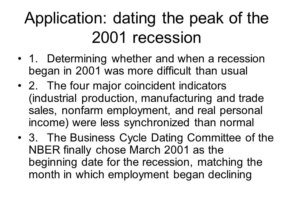 Application: dating the peak of the 2001 recession