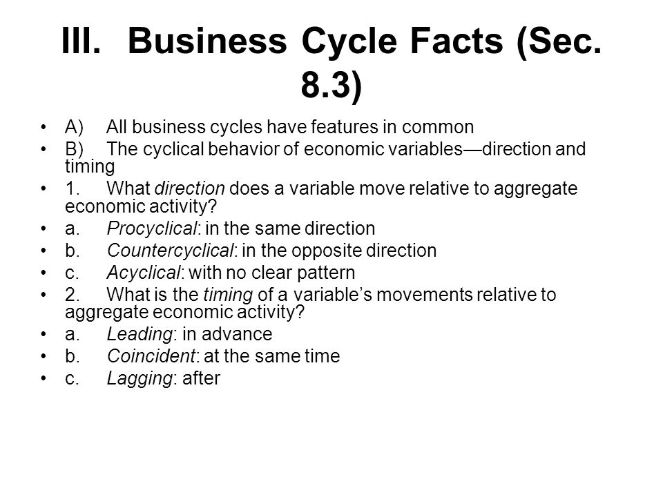 III. Business Cycle Facts (Sec. 8.3)