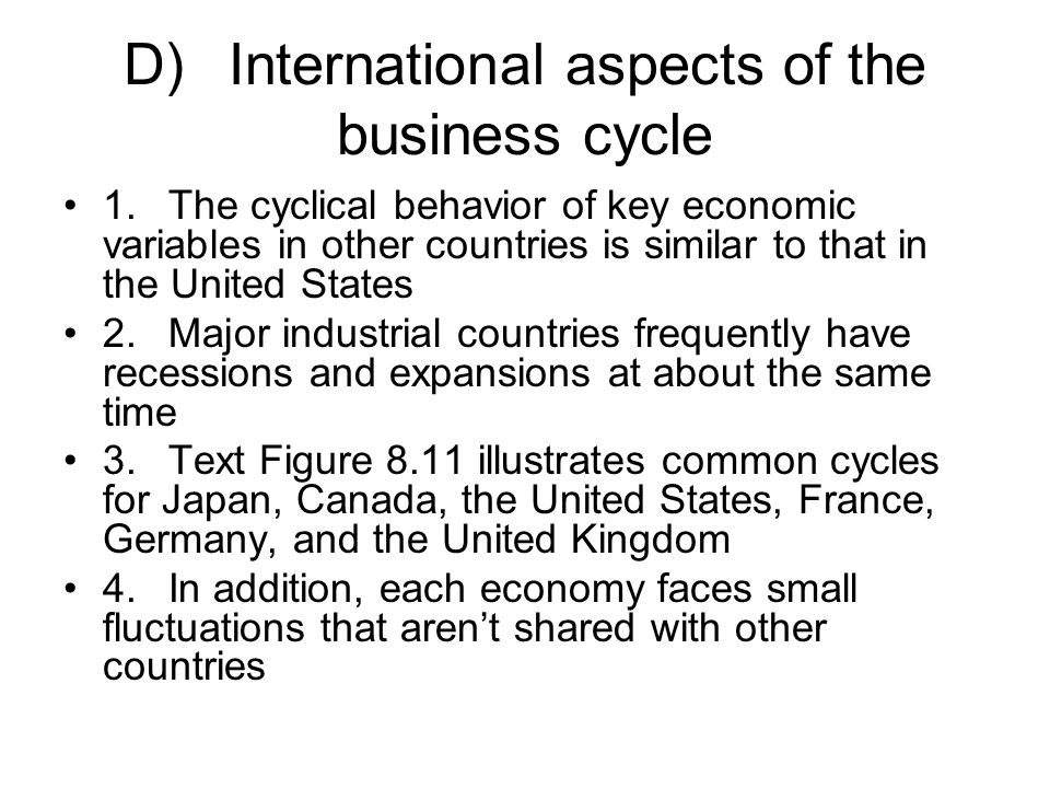 D) International aspects of the business cycle