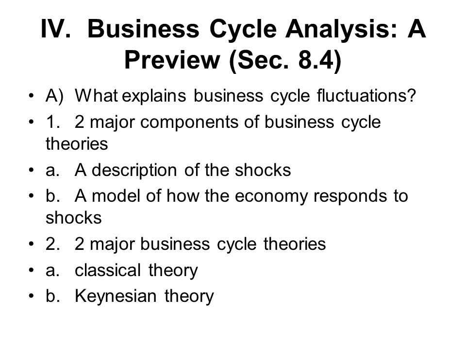 IV. Business Cycle Analysis: A Preview (Sec. 8.4)