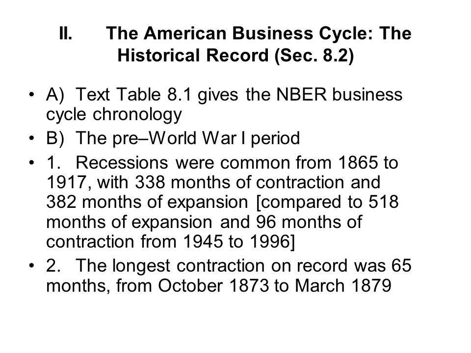 II. The American Business Cycle: The Historical Record (Sec. 8.2)