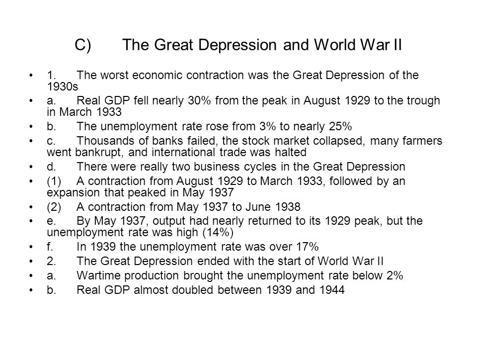 C) The Great Depression and World War II