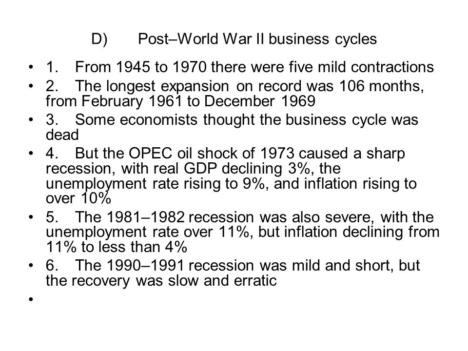 D) Post–World War II business cycles