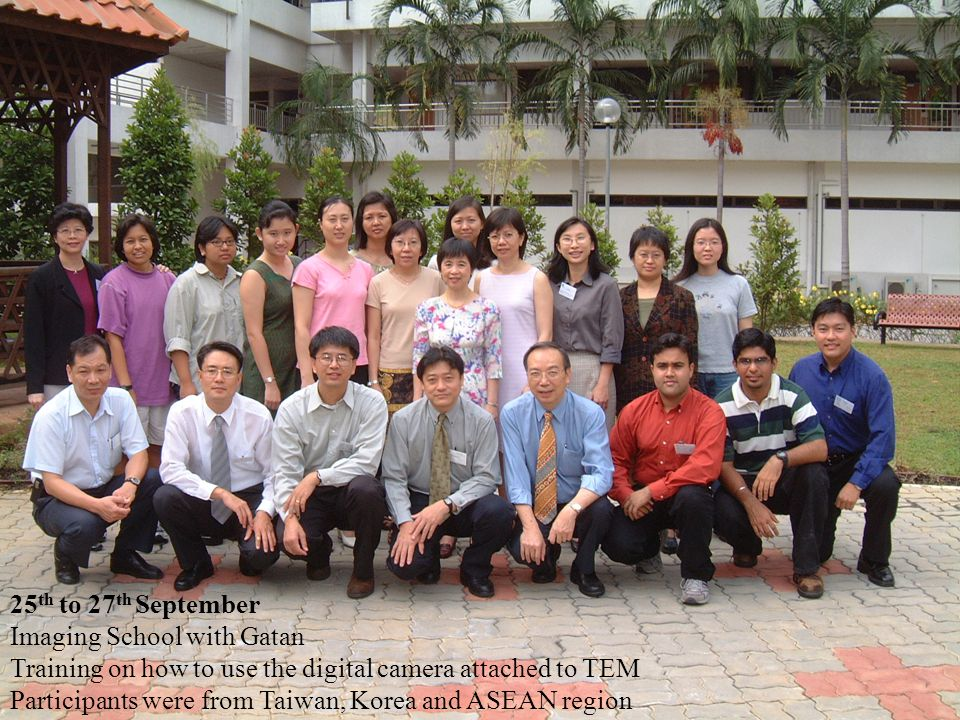 25th to 27th September Imaging School with Gatan. Training on how to use the digital camera attached to TEM.