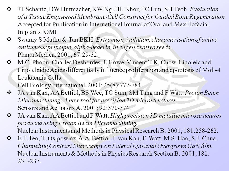 JT Schantz, DW Hutmacher, KW Ng, HL Khor, TC Lim, SH Teoh. Evaluation
