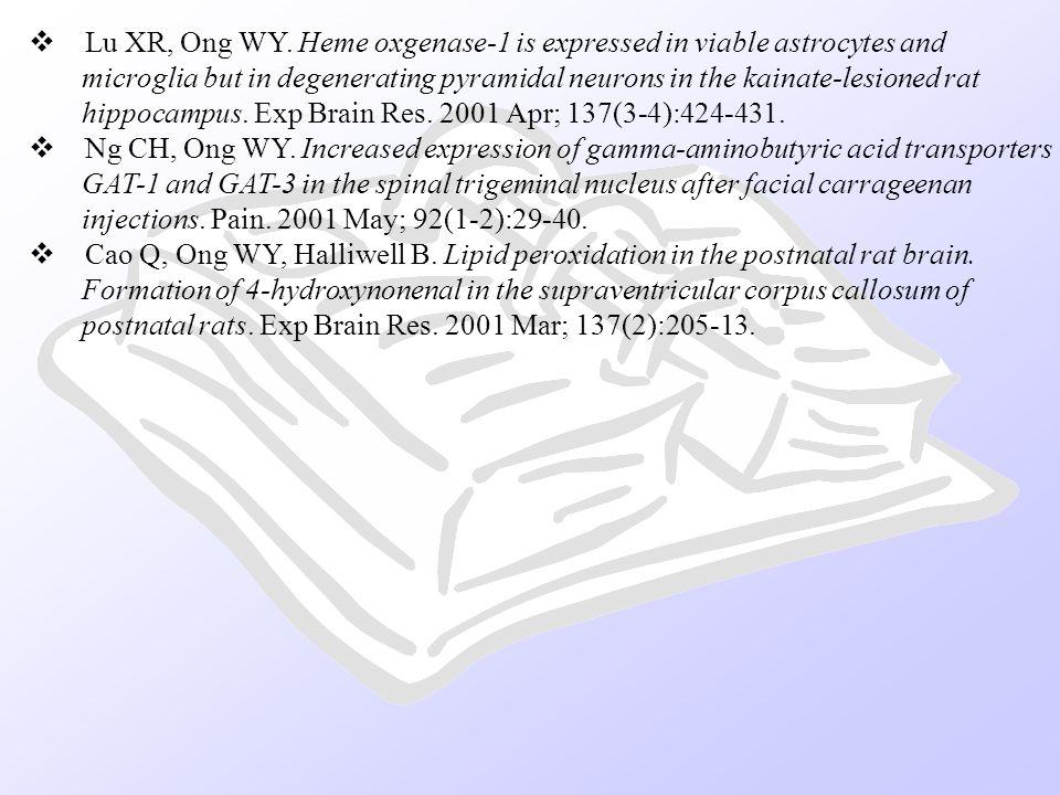 Lu XR, Ong WY. Heme oxgenase-1 is expressed in viable astrocytes and