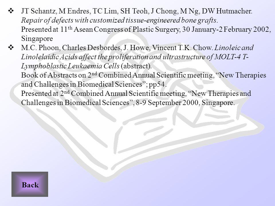 JT Schantz, M Endres, TC Lim, SH Teoh, J Chong, M Ng, DW Hutmacher.