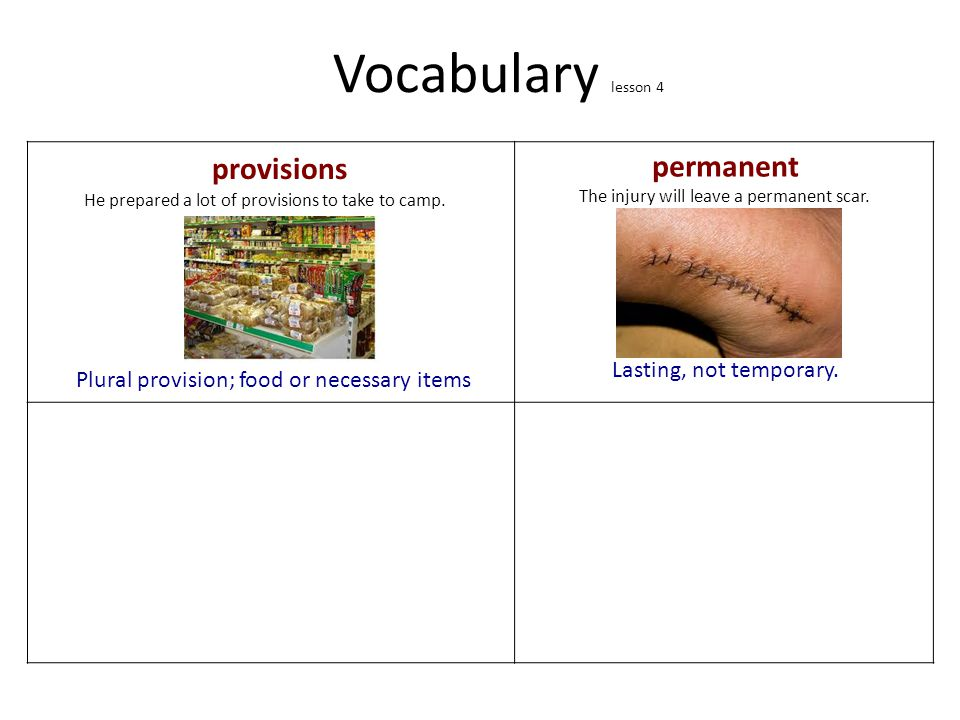 Vocabulary lesson 4 provisions permanent Lasting, not temporary.