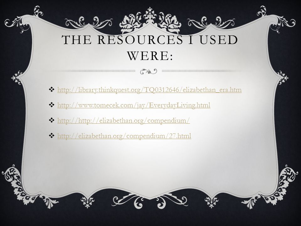 The resources I used were: