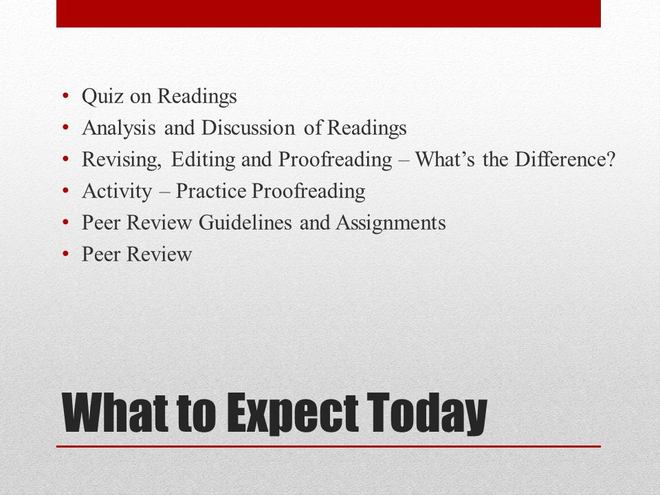 What to Expect Today Quiz on Readings