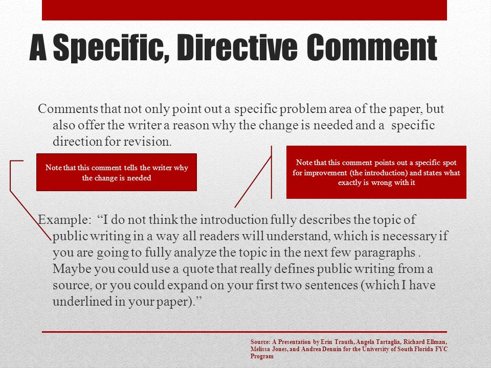 A Specific, Directive Comment