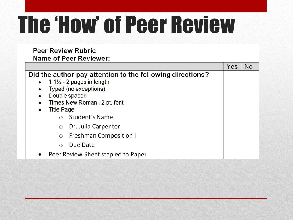 The 'How' of Peer Review