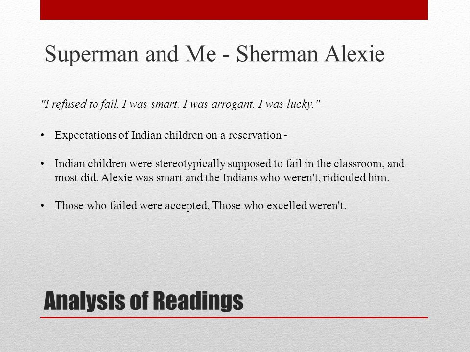 "sherman alexie analysis paper Students continue reading fahrenheit 451 by ray bradbury and analyze how   students write an essay analyzing the points of view of sherman alexie in ""the."