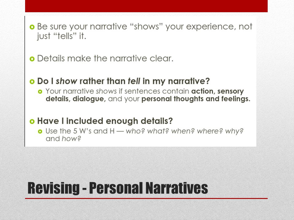 Revising - Personal Narratives