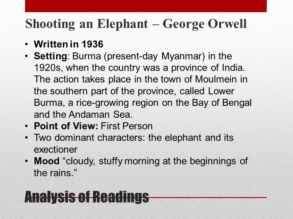 analysis of shooting an elephant Free essay: technique analysis of 'shooting an elephant' written by george orwell essay by arthur diennet in 1936, george orwell published his short story.