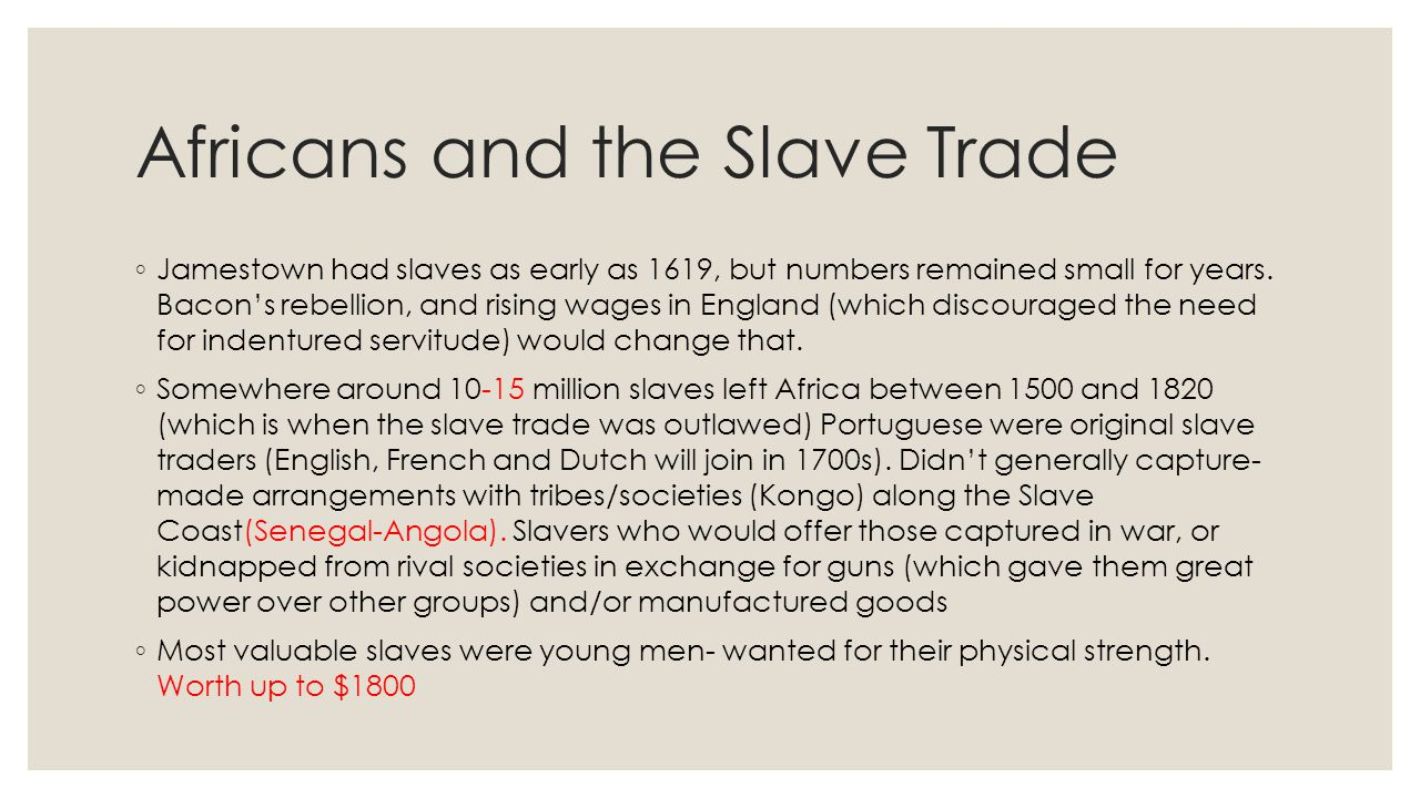 Africans and the Slave Trade