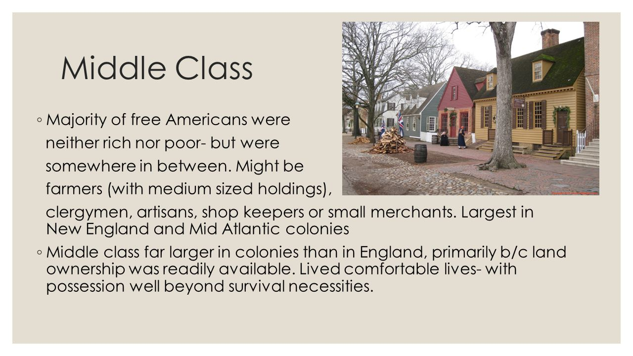 Middle Class Majority of free Americans were