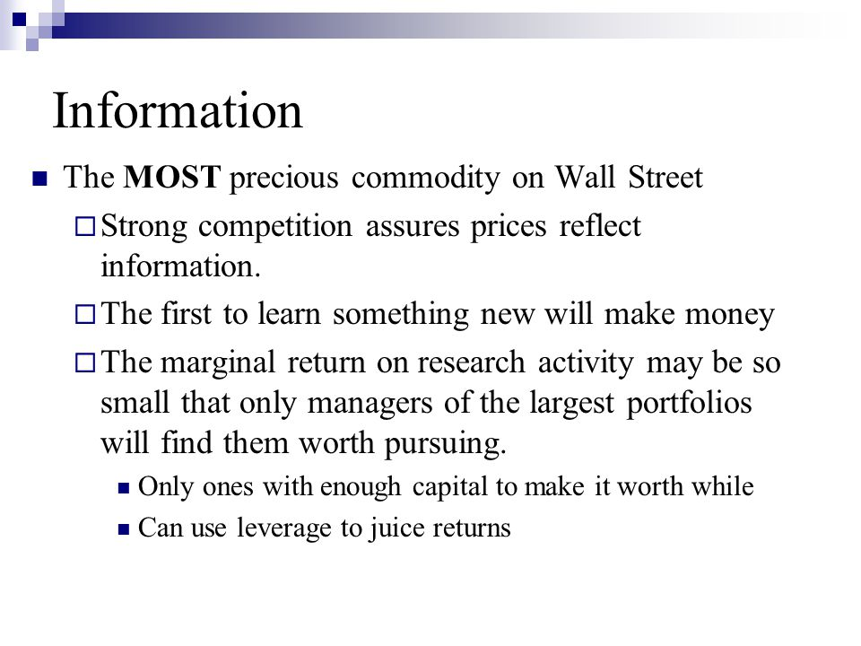 Information The MOST precious commodity on Wall Street
