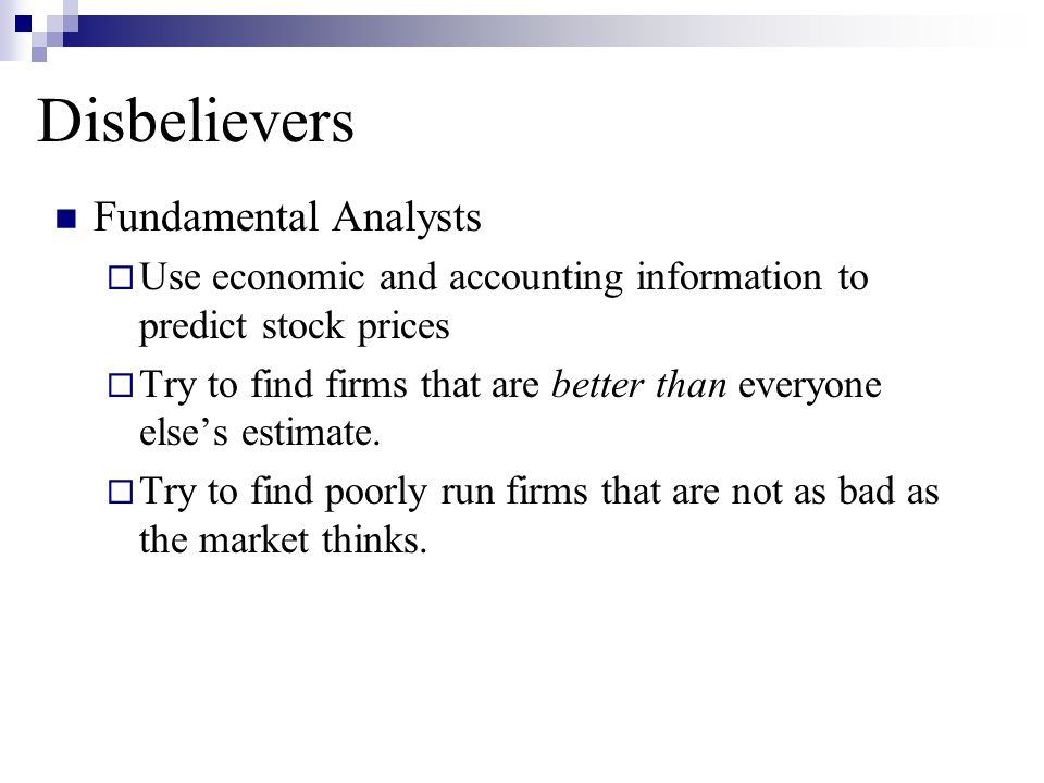 Disbelievers Fundamental Analysts