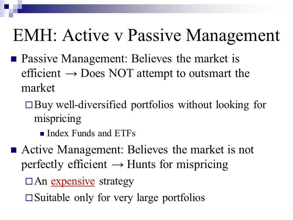 EMH: Active v Passive Management