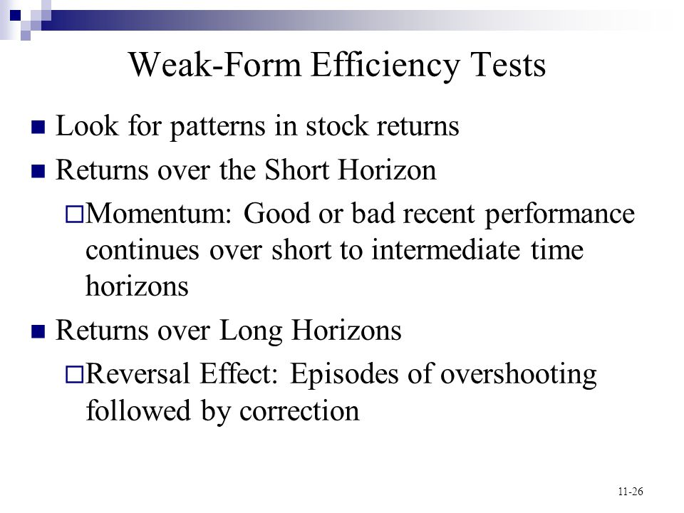 Weak-Form Efficiency Tests