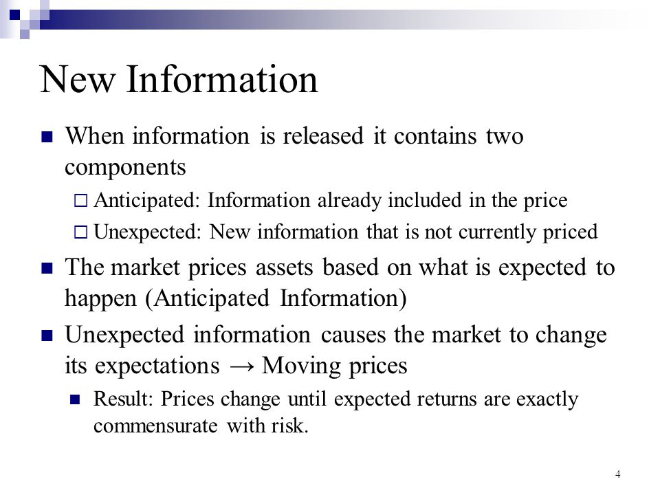 New Information When information is released it contains two components. Anticipated: Information already included in the price.