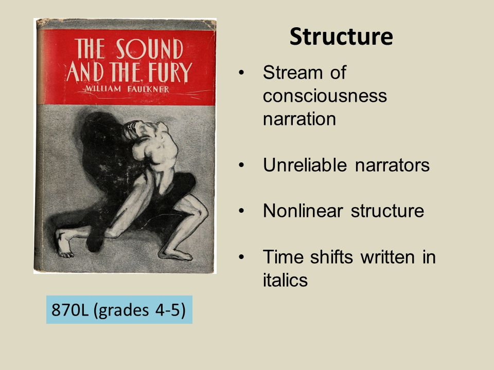 Structure Stream of consciousness narration Unreliable narrators