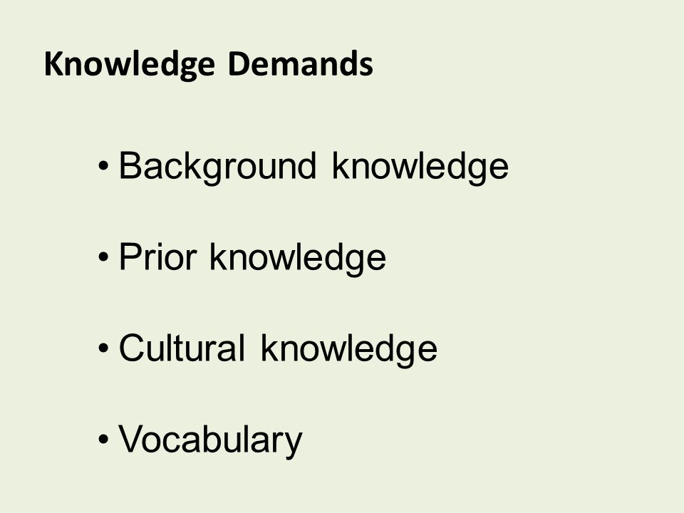 Knowledge Demands Background knowledge Prior knowledge Cultural knowledge Vocabulary