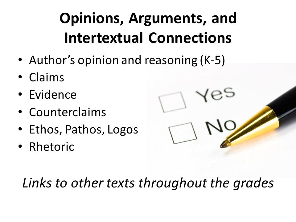Opinions, Arguments, and Intertextual Connections