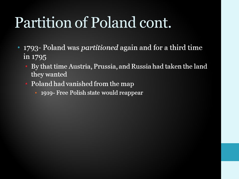 Partition of Poland cont.