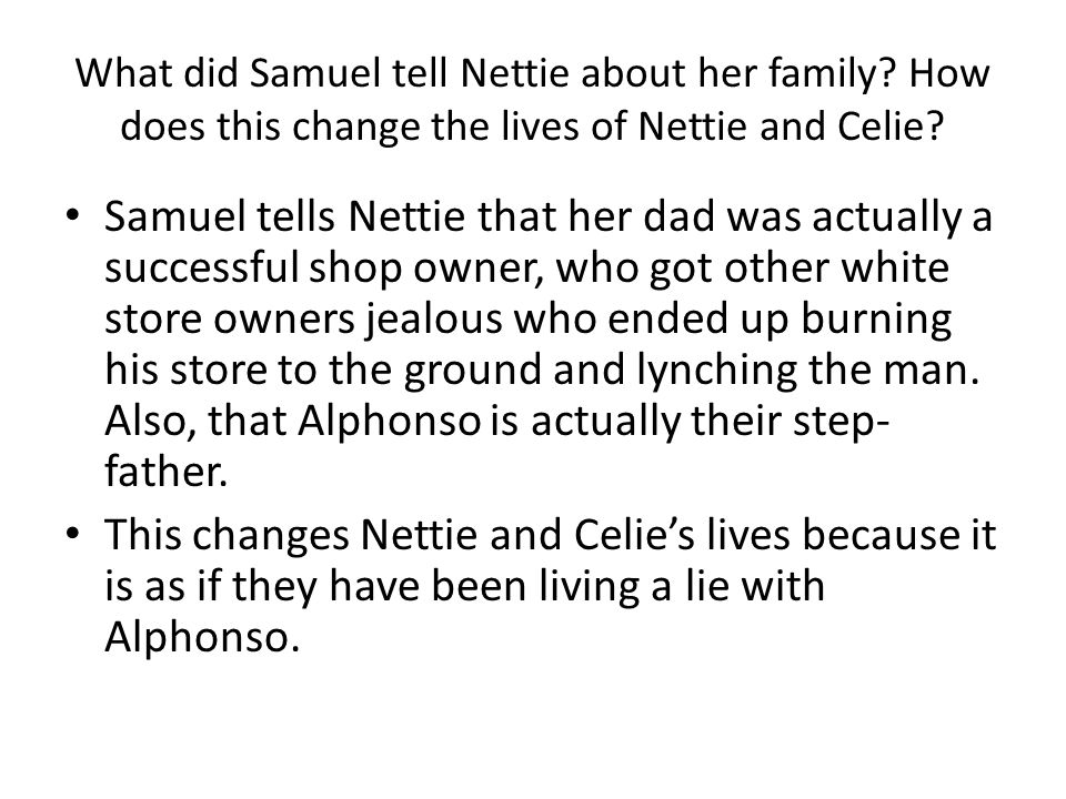 What did Samuel tell Nettie about her family