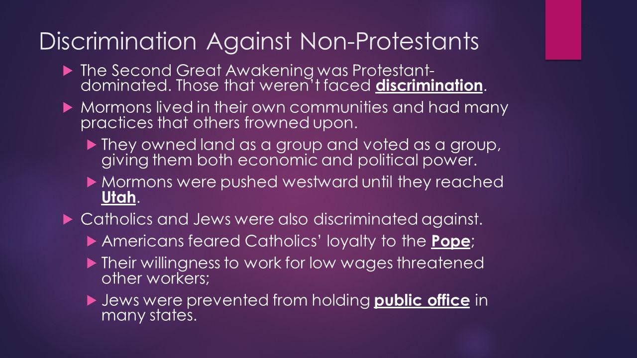 Discrimination Against Non-Protestants